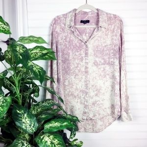 UO BYCORPUS Long Sleeve Tie Dye Blush Button Down